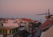 Rue de Paralia Katerini, Grèce Images libres de droits
