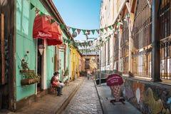 Rue de Pasaje Galvez - Valparaiso, Chili photographie stock libre de droits