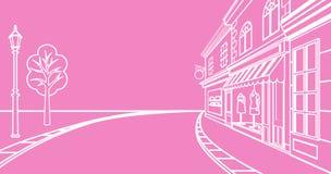 Rue de petite ville, linéaire illustration de vecteur