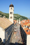 Rue de Placa sur la vieille ville de Dubrovnik Photos stock