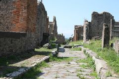 Rue de Pompeii dans les ruines de Pompeii Italie image libre de droits