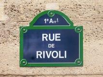 Rue de Rivoli, street plate close up in Paris France. Rue de Rivoli, street plate close up in Paris, France Stock Images
