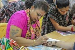 Rue de Singapour - peinture de henné Images libres de droits