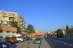 Rue de station de vacances de Sveti Vlas, Bulgarie Photos stock