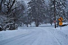 Rue de tempête de neige Photos libres de droits