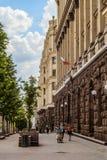 Rue de Tverskaya au centre de la ville Paysage urbain avec une pièce piétonnière de la rue Photographie stock
