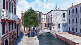 Rue de Venise avec le pont en pierre au-dessus du canal étroit illustration libre de droits