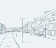 Rue de ville avec beaucoup de boutiques de fenêtres