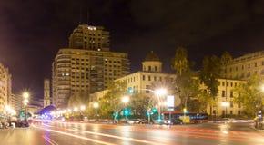 Rue de ville dans la nuit. Valence, Espagne Photo libre de droits