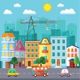 Rue de ville dans une conception et un ensemble plats de bâtiments urbains illustration de vecteur