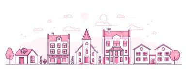 Rue de ville - ligne mince moderne illustration de vecteur de style de conception illustration stock