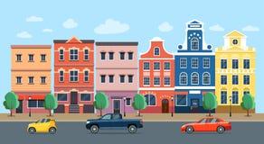 Rue de ville panoramique Bâtiments et voitures d'ensemble de la vie de ville illustration libre de droits