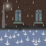 Rue de ville sous la pluie Photographie stock