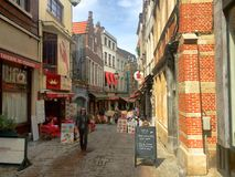 Rue des bouchers in  Brussels Royalty Free Stock Photography