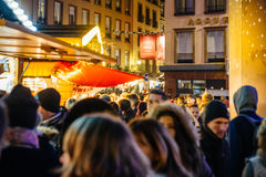 Rue des Hallebardes Strasbourg, Christmas Market Royalty Free Stock Photos