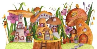 Rue des maisons de champignon avec l'herbe, les fleurs, le papillon, le pondoir, la barrière, la bannière et le puits illustration de vecteur