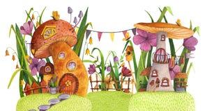 Rue des maisons de champignon avec l'herbe, les fleurs, le papillon, le pondoir, la barri?re, la banni?re et le puits illustration stock