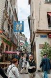 Rue des Orfevres στο κέντρο του Στρασβούργου Στοκ εικόνα με δικαίωμα ελεύθερης χρήσης