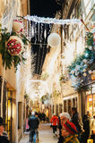 Rue des Orfevres with tourists having fun and admiring the luxur Royalty Free Stock Photo