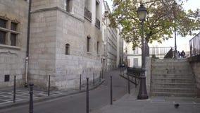 Rue des Ursins, Historical medieval street in Cite island in Paris. Paris, France-November 27,2016:Rue des Ursins, a medieval street that still keeps historical stock video