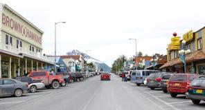Rue du centre de l'Alaska Seward 4ème Photographie stock libre de droits