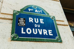 Rue du Louvre with city sticker on it as seen in the 1st arrondi Royalty Free Stock Images