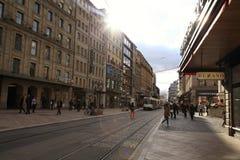 Rue du Marche i Genève, Schweiz Royaltyfria Foton