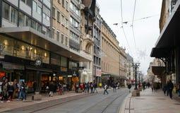 Rue du Marche, street view of Geneva royalty free stock photo