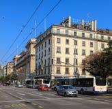 Rue du Mont-Blanc street in Geneva, Switzerland Royalty Free Stock Photo