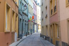 Rue du Nord i Luxembourg royaltyfria bilder