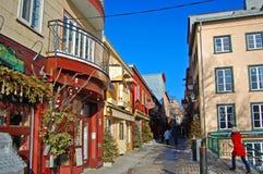Rue du Petit-Champlain, de Stad van Quebec, Canada stock afbeelding