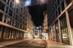 Rue du Rhone. Geneva night cityscape royalty free stock photos
