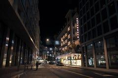 Rue du Rhone. Night cityscape, Geneva royalty free stock photography
