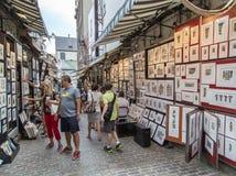 Rue du Tresor eller konstnärgränd i gamla Quebec City Royaltyfria Bilder