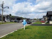 Rue Du Tressor i Drummondville QC, Kanada Arkivfoto