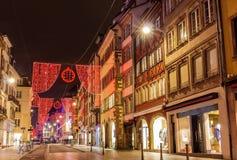 Rue du Vieux Marche aux Poissons op Kerstmis Royalty-vrije Stock Foto