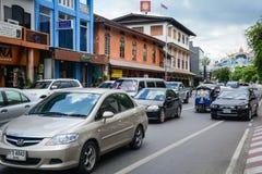 Rue en Chiang Mai, Thaïlande Image libre de droits