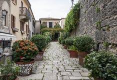 Rue en pierre typique du Saint-Marin Photographie stock libre de droits