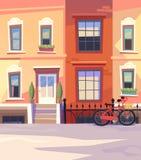 Rue ensoleillée de ville avec une bicyclette de ville Illustration de vecteur Photographie stock