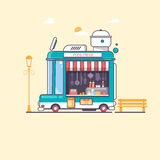 Rue et illustration plate rapide de vecteur de FoodTruck Photo libre de droits