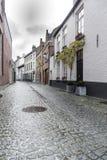Rue et maisons Cobblestoned Bruges Image libre de droits