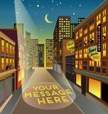 Rue factice de ville la nuit avec l'espace de projecteur pour votre message illustration libre de droits