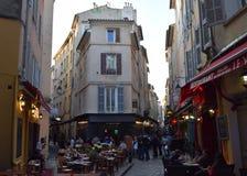 Rue Felibre Gaut de la Verrerie, Aix-en-Provence, de bouches-du-Rhône, Frankrijk royalty-vrije stock afbeeldingen