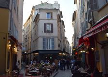 Rue Felibre Gaut de la Verrerie Aix-en-provence, Bouches-du-Rhone, Frankrike Royaltyfria Bilder
