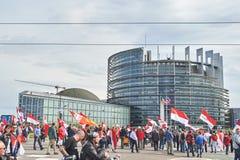 Rue fermée au Parlement européen Images libres de droits
