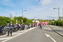Rue fermée près du Parlement européen Images libres de droits