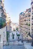 Rue Foyatier trappa på vägen till basilikan Sacre-Coeur paris france Royaltyfri Bild