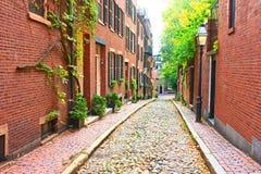 Rue historique de gland à Boston Images stock