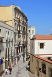 Rue historique, Quartiere Villanova, Cagliari, Sardaigne, Italie Images libres de droits