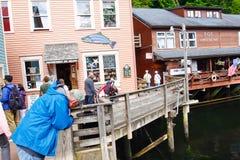 Rue Ketchikan de crique de l'Alaska recherchant des saumons Images libres de droits